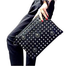 leather wallet, Goth, clutch purse, Wristlet wallet