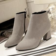 Cotton fabric, short boots, thickheel, Winter