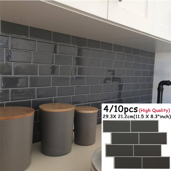 4 10pcs Grey Brick Subway Tile Peel And Stick Backsplash Kitchen Subway Contact Paper Wall Decals Self Adhesive Diy Home Wallpaper Wish
