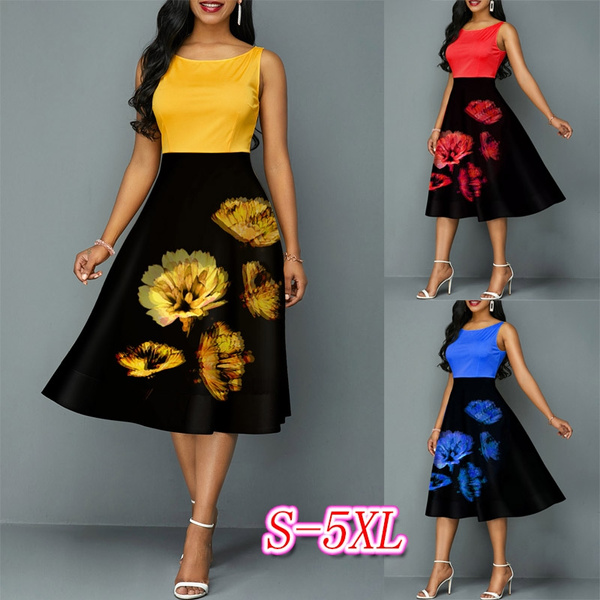 Swing dress, printeddres, neck dress, Waist