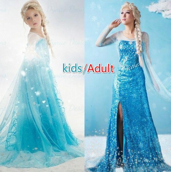 Frozen Elsa Fancy Dress Up Party Costume Blue Adult Snow Queen Women Costume Lot
