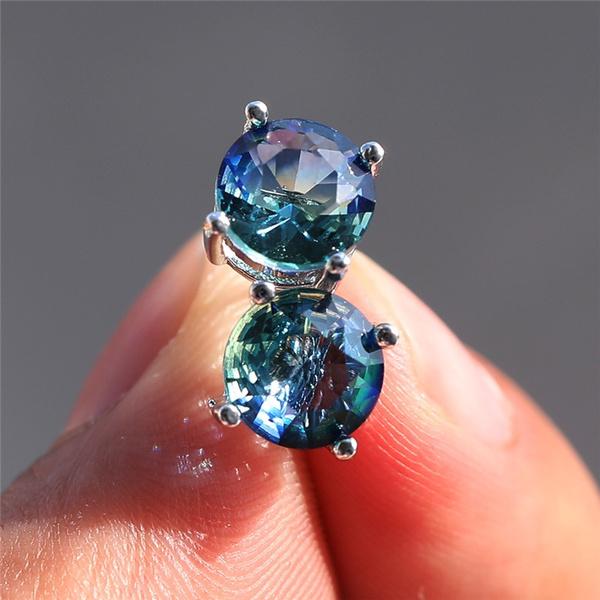 moissanite, Sterling, 8MM, moissanite earrings