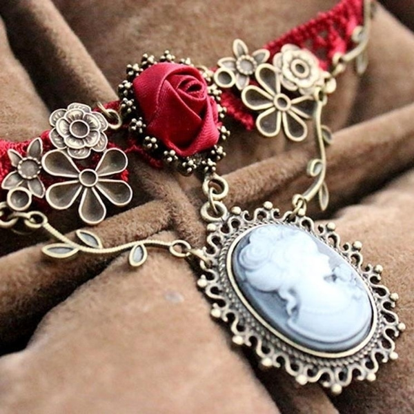 Fashion, Cameo, Rose, necklace charm