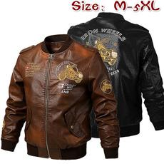 Plus Size, Spring/Autumn, leather, Coat