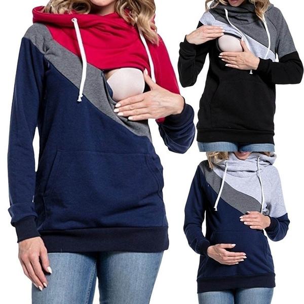 breastfeeding tops, Fashion, hooded, Sleeve