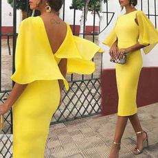 pencil, bodycon bandage dress, Midi Dresses, ruffle
