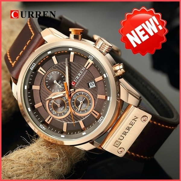 Fashion, Waterproof Watch, business watch, leather strap
