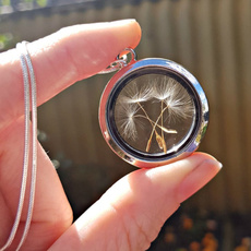 dandelionlocketnecklace, Jewelry, realdandelionnecklace, flower necklace