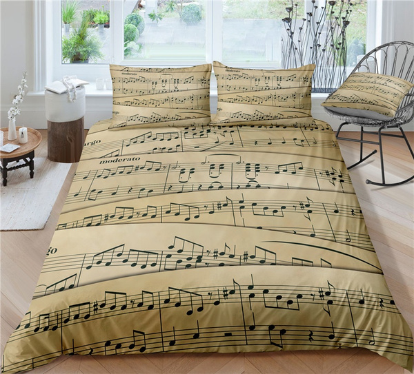 brown, musicalnote, printed, queensizebeddingset