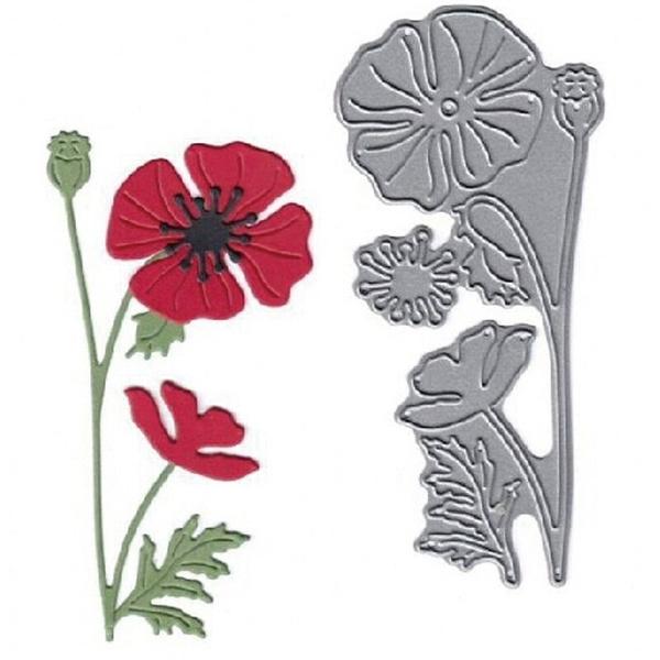 Steel, poppyflowerstencil, stencil, Scrapbooking