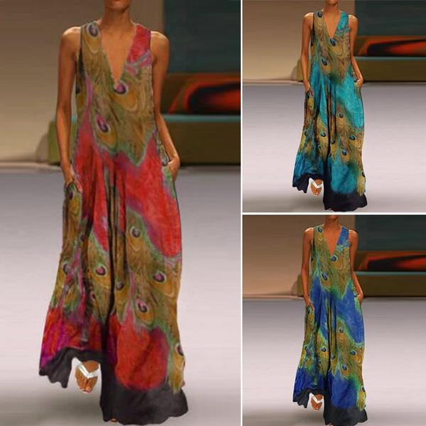 Pocket, Plus Size, peacock, long dress