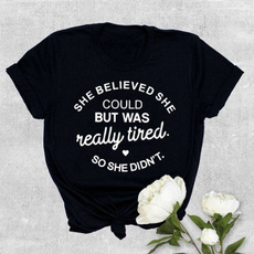 Fashion, letter print, Gray, cottonclothing