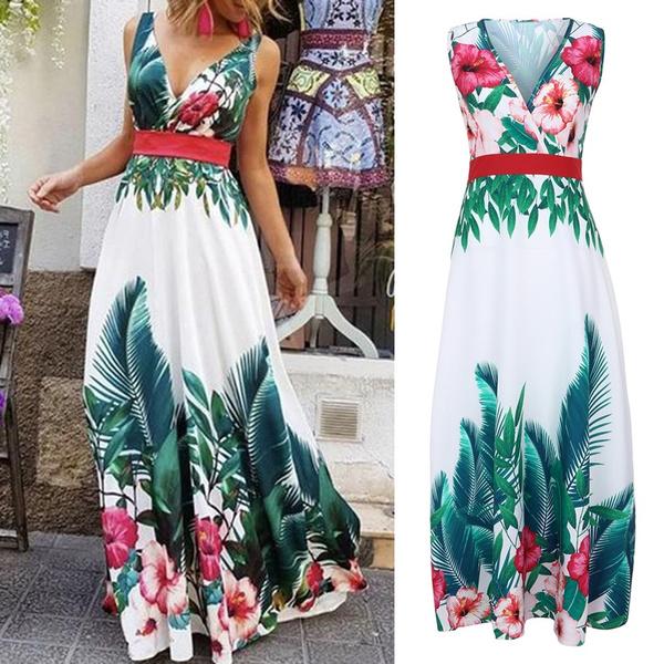 Summer, floralprintdres, vneckvestido, Dress