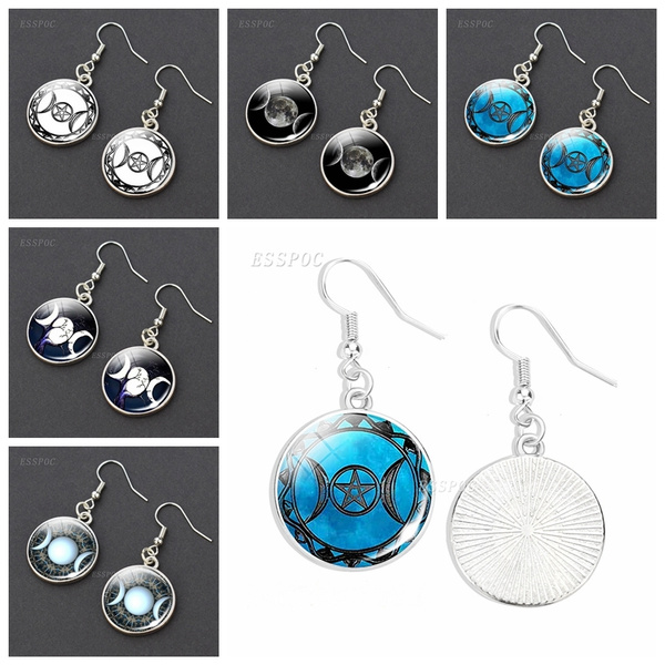 wiccan, Dangle Earring, Jewelry, goddessglassjewelry