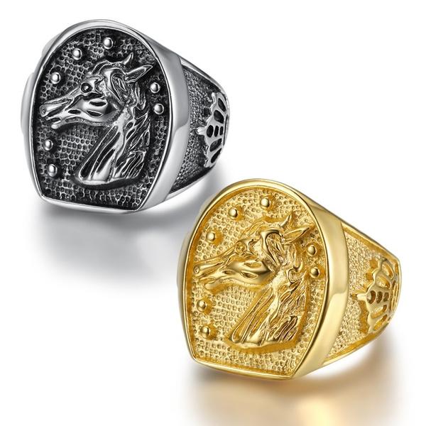 Mens Ring, Steel, horse, Fashion