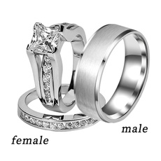 Steel, ringsforcouple, Fashion, 925 sterling silver
