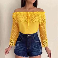 blouse, blouse women, Lace, Hollow-out