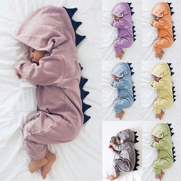 Newborn Infant Baby Boys Girls Dinosaur Hooded Romper Jumpsuit Outfits Clothes