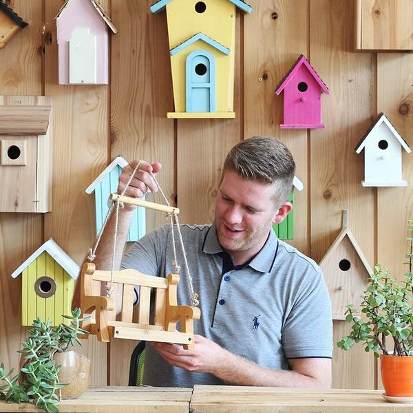 birdfeeding, swingmodel, Garden, Beauty