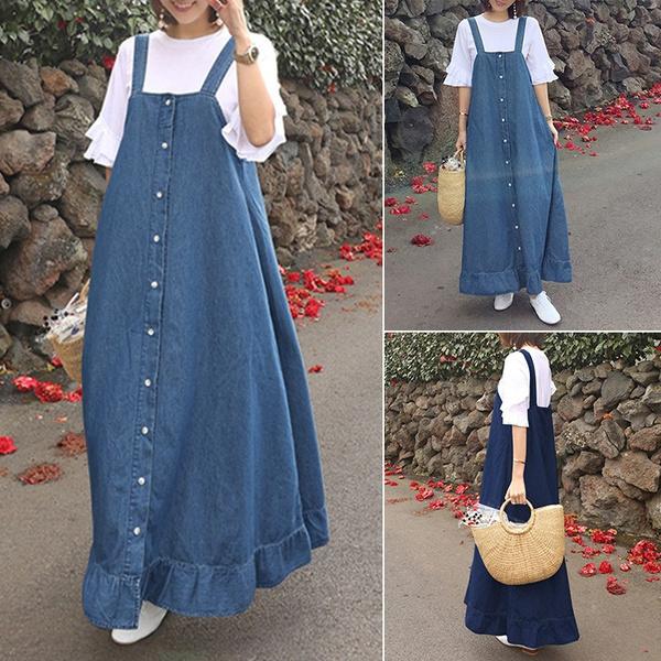 Summer, Plus Size, dungaree, long dress