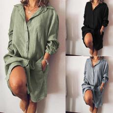 Mini, plaincolor, Shirt, womenlongshirt