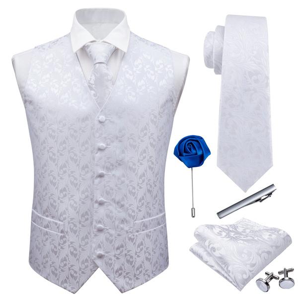 Wedding Tie, jacquardwoven, Vest, boutonniere