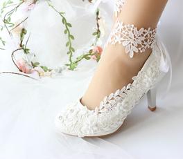 laceweddingshoe, Ivory, shoeswithanklet, Lace