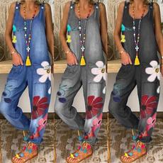 sleeveless, Fashion, embroideryflower, Denim