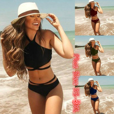 Summer, Bikinis Set, Womens Swimsuit, Halter