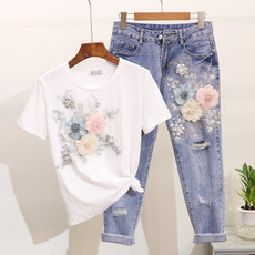 Heavy, Summer, Two-Piece Suits, embroideryflower