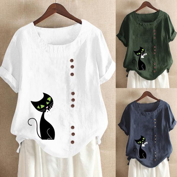 Summer, summer t-shirts, Cotton T Shirt, looseblouse