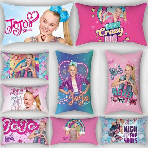 1pc Cute Girl Jojo Jojo Siwa Pillowcase Car Sofa Waist Cushions Funda De Almohada Kissen Oreiller Almohada Pillow Sofa Car Bed Sofa Pillow Case Bedroom Decoration Cushion Cover Wish