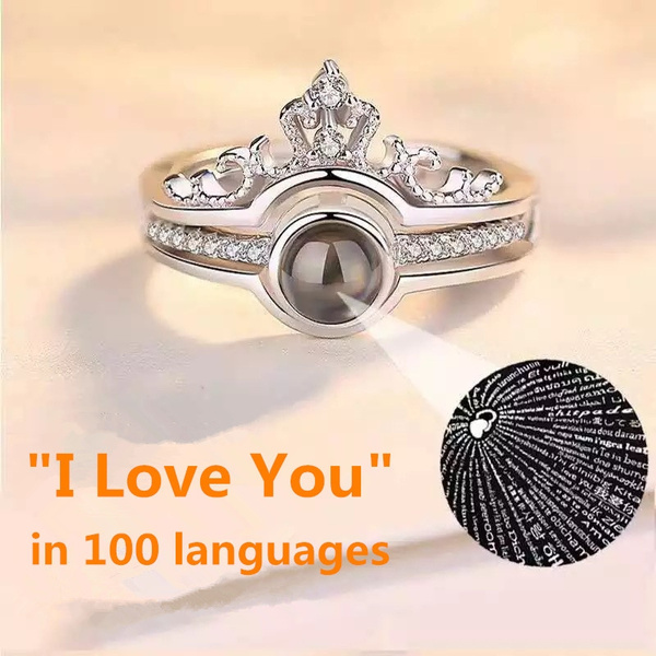 I Love You In 100 Languages Ring 925 Silver Plated Micro Engraving Light Projection Ring Romantic Gift Couples Two In One Crown Diamond Ring Women Jewelry Wish