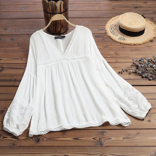 lacecrochet, blouse, Fashion, long sleeve blouse