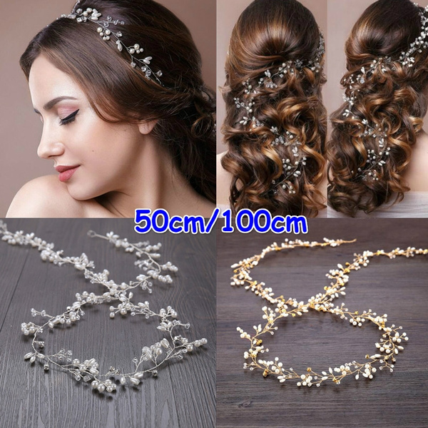 Bridal, Apparel & Accessories, gold, pearlheadband