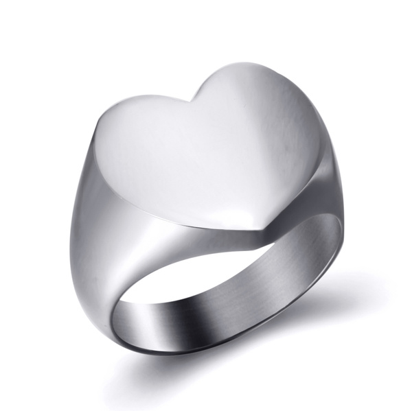Steel, Heart, Stainless Steel, Women Ring