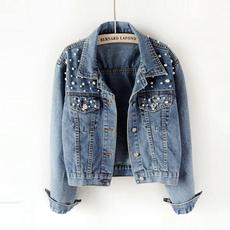 Vintage, jeanjacket, Fashion, pearldenimcoat