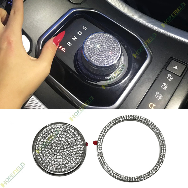 XCBW 3D Metal Gear Shift Knob Cover Trim Sticker for Land Rover Range Rover Shenxing discovery4,Gold Crystal Drill