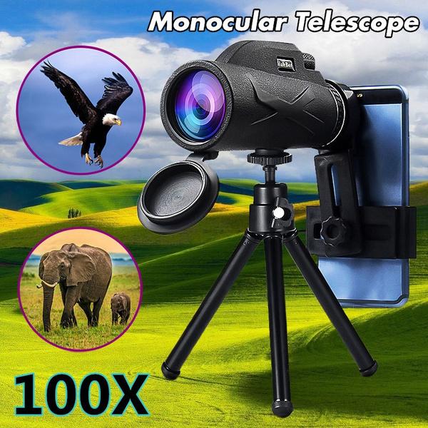 Camp Wildlife Scenery Monocular Telescope 80X100 HD Night Vision Monocular Eyepiece Telescope Waterproof with Phone Tripod /& Mount Adapter /& BAK4 Prism FMC for Target Shooting Hiking Concert