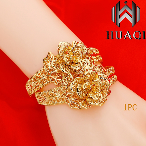 Charm Bracelet, Flowers, Jewelry, gold