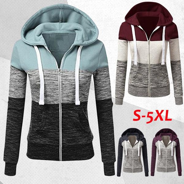 Women/'s Fashion Patchwork Thin Zip-Up Hoodie Jacket Long Sleeve Sweatshirt