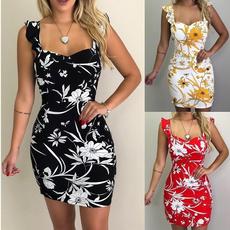 Summer, Fashion, Floral print, Dress