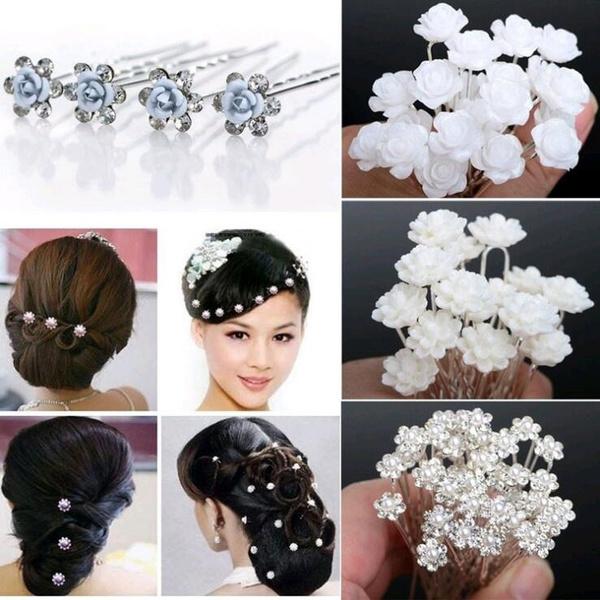 hair, Flowers, Clip, Pins