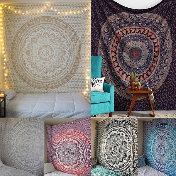 peacock, mandalatapestry, Home & Living, beachshawl
