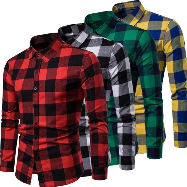 plaid shirt, Fashion, thickshirt, mensplusvelvetthickshirt