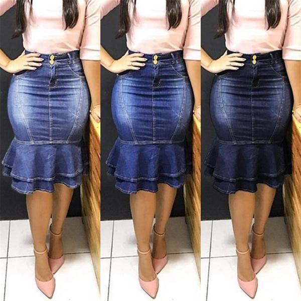 denim dress, Summer, jeansskirtsforwomen, ruffle