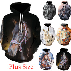 3D hoodies, horse, Fashion, unisex