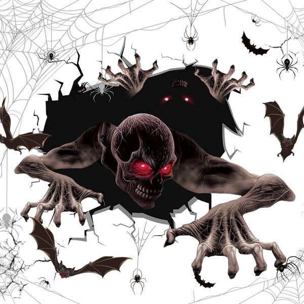 halloweenhorrorsticker, glassdecoration, bloodyhandprintsticker, devilsticker