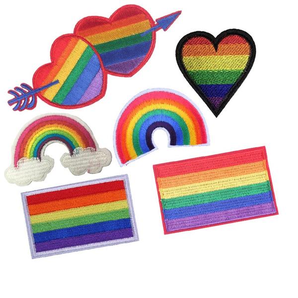 sew, rainbow, pride, Emblem