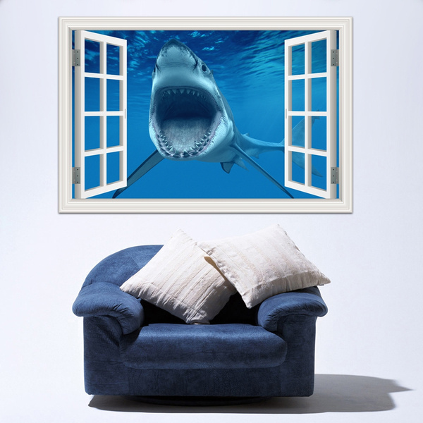 scary, Shark, wallstickerdecal, Home Decor